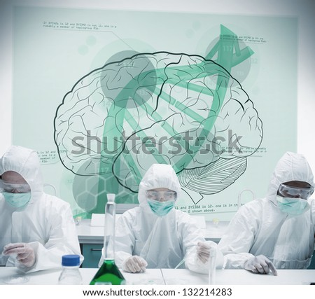 Chemists working with futuristic interface showing scientific diagrams with dna and brain - stock photo