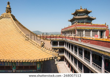 CHENGDE CITY - MAY 30: The Chinese traditional style building in the Putuo Temple of Mountain Resort,  - stock photo