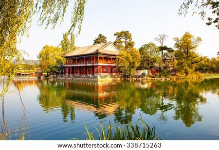 Chengde imperial summer resort scene- Misty Rain Floor under the setting sun. The Resort was Chinaâ??s largest imperial garden. It is located in the city of Chengde, Hebei, China. - stock photo