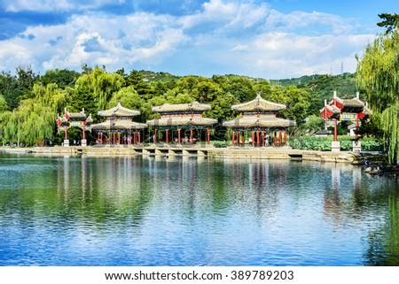 Chengde Mountain Resort. The Mid-lake Pavilion. It is a large complex of imperial palaces and gardens situated in the city of Chengde in Hebei, China. - stock photo