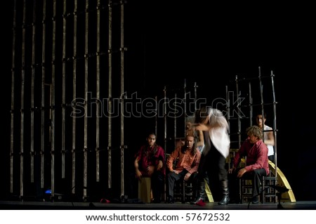 "CHENGDU - DEC 28: The Ballet Troupe of Spanish Rafael Aguilar(Ballet Teatro Espanol de Rafael Aguilar) performs the best Flamenco Dance Drama ""Carmen"" at JINCHEN theater DEC 28, 2008 in Chengdu, China. - stock photo"