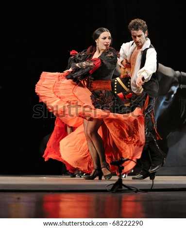 "CHENGDU - DEC 28: The Ballet Troupe of Spanish Rafael Aguilar(Ballet Teatro Espanol de Rafael Aguilar) perform the best Flamenco Dance Drama ""Carmen"" at JINCHEN theater DEC 28, 2008 in Chengdu, China. - stock photo"