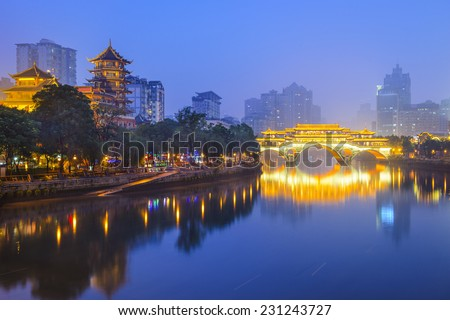 Chengdu, Sichuan, China cityscape over the Jin River. - stock photo