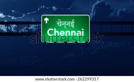 Chennai India Highway Road Sign at Night - stock photo