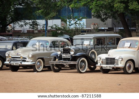CHENNAI - INDIA - JULY 24: Vauxhall Velox 1951, Dodge 1931 and  Chevrolet Fleet Master vintage cars on Heritage Car Rally 2011 of Madras Heritage Motoring Club on July 24, 2011 in Chennai, India - stock photo