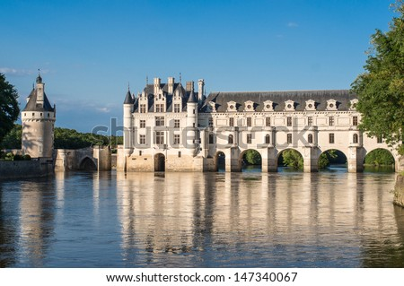 chenonceau castle at dusk, in the loire valley, france - stock photo