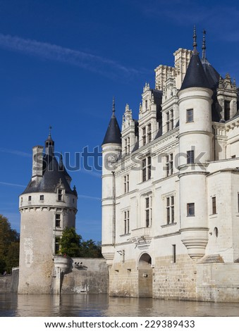 CHENONCEAU, FRANCE - Octobre 10. Loire Valley castle near the village of Chenonceaux, on Octobre 10, 2014. Castle of the loira valley - stock photo
