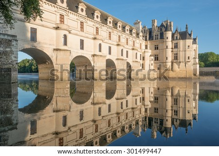 CHENONCEAUX,FRANCE - JULY 7 2015 : Chenonceau chateau, built in the XVIth Century, is one of the most famous monument of the Loire Valley, inscribed on the world heritage list of UNESCO. - stock photo