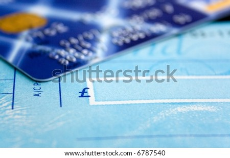 Cheque Book and Card Close up - stock photo