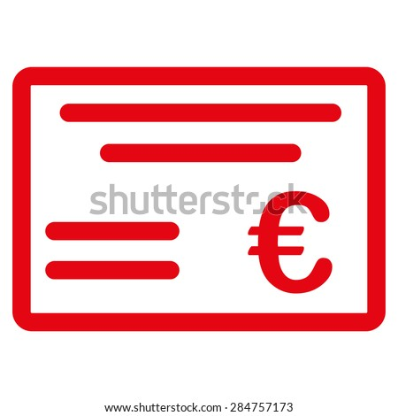 Cheque from BiColor Euro Banking Icon Set. Glyph style: flat, red symbol, rounded angles, white background. - stock photo