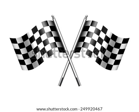 Chequered Flags - Checkered Flag Motor Racing - Raster Version - stock photo