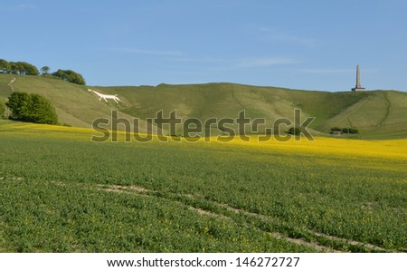 Cherhill Wiltshire with Obelisk and White Chalk Horse - stock photo