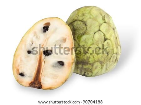 Cherimoya fruit isolated on white - stock photo