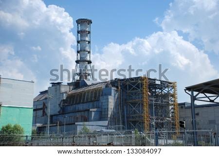 "Chernobyl nuclear power plant.Fourth block of Chernobyl nuclear power plant, now the object ""Shelter"" (""Sarcophagus). Kiev region. Ukraine - stock photo"