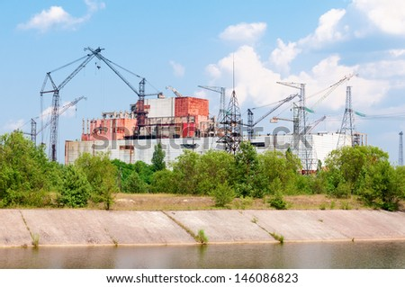 Chernobyl nuclear power station, uncompleted and abandoned reactor 5-6. - stock photo