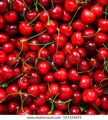 Cherries fresh fruit background - stock photo