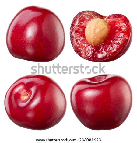 Cherry and a half isolated on white background. Collection - stock photo