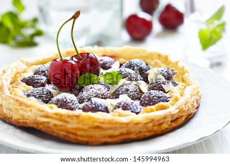 Cherry and Almond Tart - stock photo