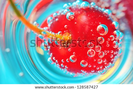 Cherry and bubbles - stock photo