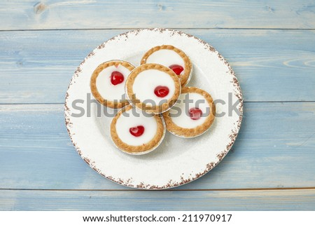 Cherry bakewell tart - stock photo