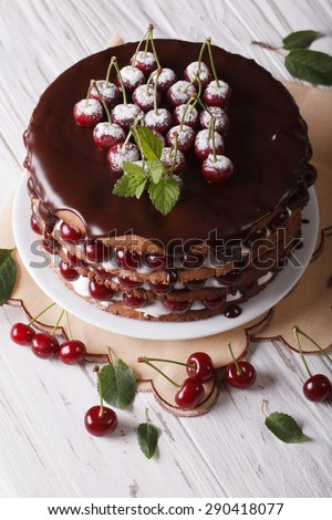Cherry cake with chocolate icing on a plate on a table close-up. vertical  - stock photo