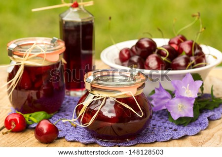 Cherry confiture with blackcurrant (cassis) liqueur - stock photo