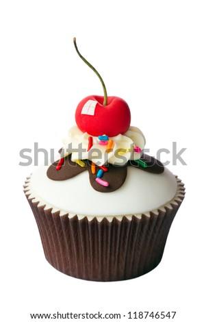 Cherry cupcake - stock photo