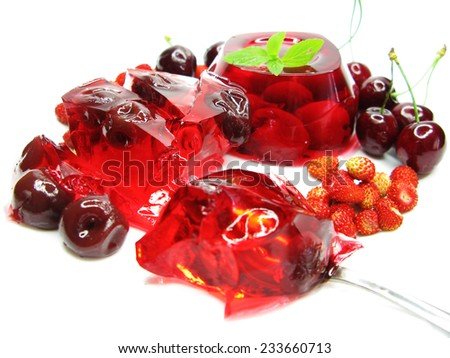 cherry dessert with dairy pudding and jelly - stock photo
