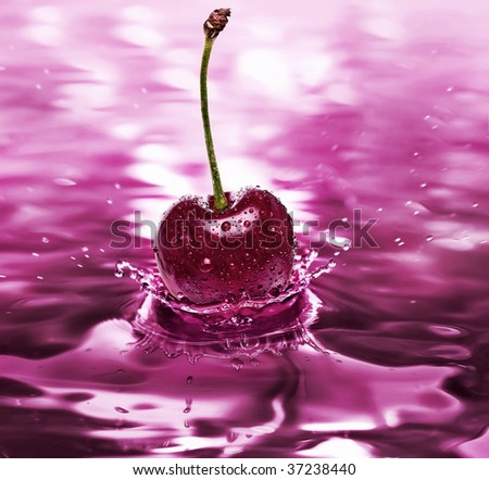 cherry drink - stock photo