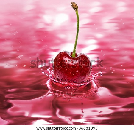 cherry drink splash close up background  - stock photo