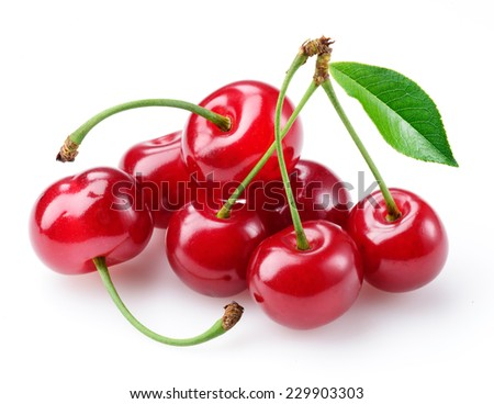 Cherry. Group of berries isolated on white - stock photo