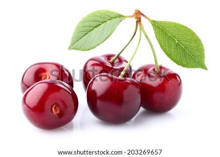 Cherry in closeup - stock photo