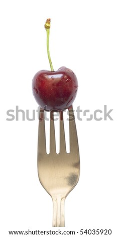 cherry on the fork, diet concept - stock photo
