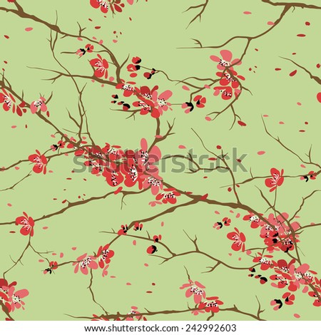 cherry or sakura seamless pattern background - stock photo