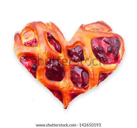 Cherry pie piece heart shape isolated on white. - stock photo