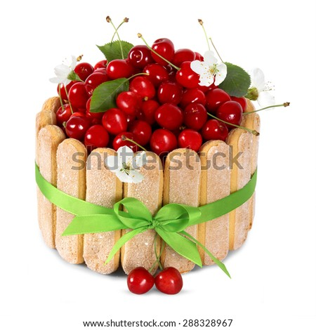 cherry sponge cake with fresh fruits decoration isoleted on white background - stock photo