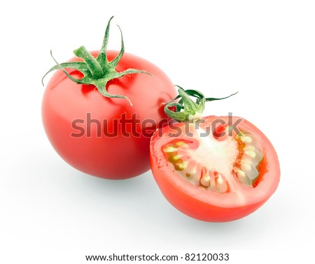 Cherry tomato and half isolated on white background - stock photo