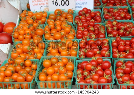 Cherry Tomatoes at the Santa Barbara Farmer's Market - stock photo