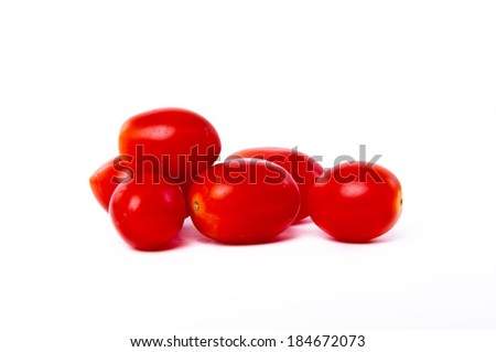 Cherry tomatoes isolated in white background. - stock photo