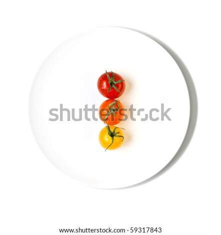 cherry tomatoes making traffic light - stock photo
