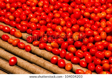 Cherry tomatoes ready to be packed with a machine - stock photo