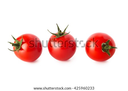 Cherry tomatoes. Three cherry tomatoes isolated on white background - stock photo