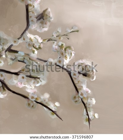 Cherry tree in bloom - Oil painting - stock photo