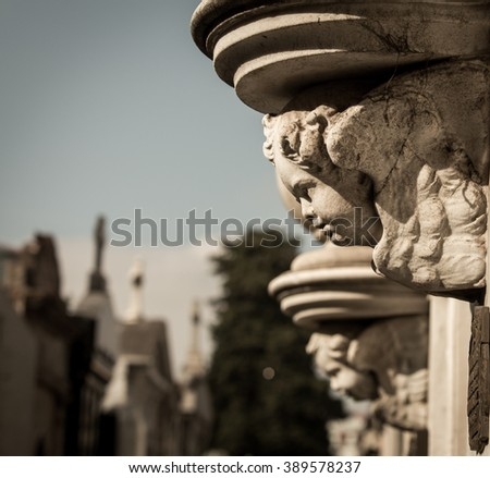 cherub La Recoleta Cemetery - stock photo