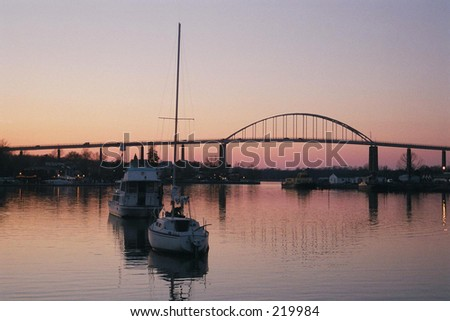 Chesapeake City, Maryland - Bridge over the Chesepeake & Delaware Canal - stock photo