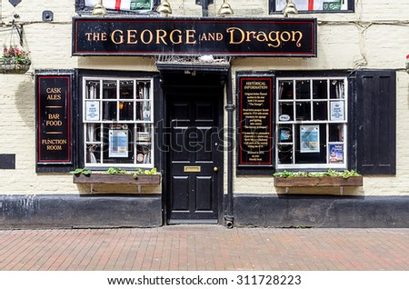 "CHESHAM, UK - MAY 25: Entrence to the pub calling ""The George and Dragon).25 may 2018, chesham Uk - stock photo"