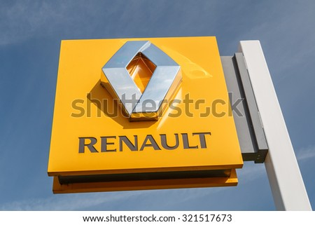 Cheshire,UK - September 28th 2015: Renault logo on a sign outside the car or automotive dealership. All car brands are under scrutiny after the VW emissions scandal. - stock photo