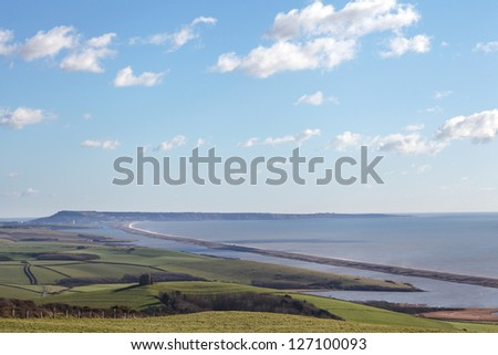 Chesil beach in dorset and portland isle - stock photo