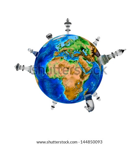 "Chess around the world - 3D - ""Elements of this image furnished by NASA"" - stock photo"