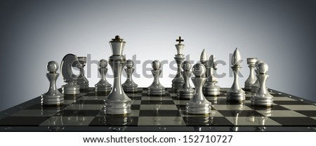 Chess background - checkmate. High resolution 3D render  - stock photo